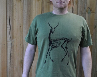 Anatomical Deer Skeleton Hemp T shirt Screen Printed Men's Size M Forest Green