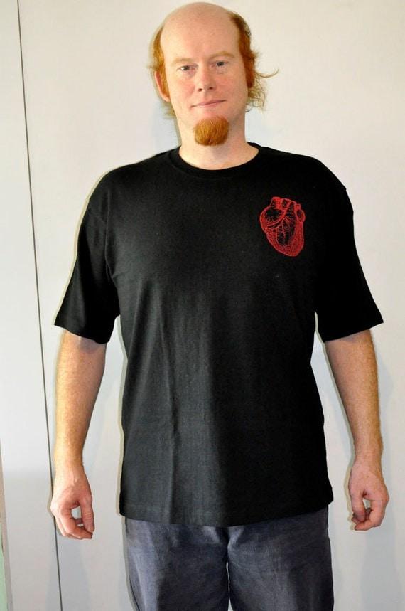 Anatomical Heart T Shirt. Hemp Tshirt Screen Printed Sustainable Size L