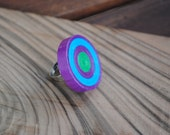 Paper quilling - violet, green, blue turquoise ring