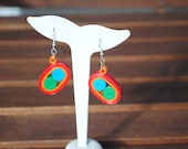 Paper Earrings - quilling - red, orange, green blue - paper jewelry
