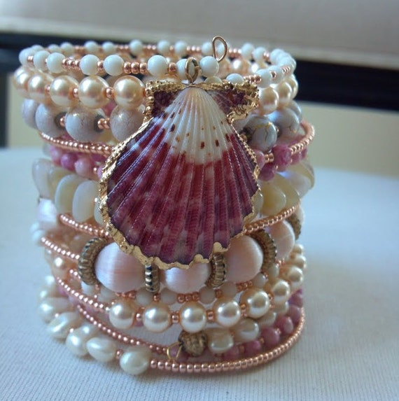 Beaded Wrap Bracelet, Pearl Bracelet, Memory Wire Bracelet, Wrap Around Bracelet, Beaded Bracelet Cuff, Stacked Bracelet
