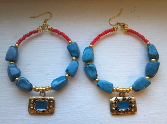 Turquoise , Coral, and Gold colored Earrings, Boho Hoop Beaded Earrings