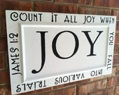 JOY Sign James 1:2 Painted on Recycled 1970's Cabinet Door