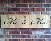 Recycled Pallet Mr. & Mrs. One Piece Sign