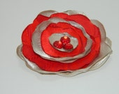 Red and Beige Fabric Brooch