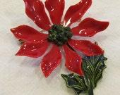 ENAMEL CHRISTMAS BROOCH Vintage Poinsietta Perfect