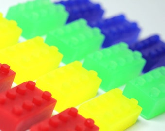Lego Type Building Block Kid Soaps - Kid Party Favors - Birthday Party- 10 Sets