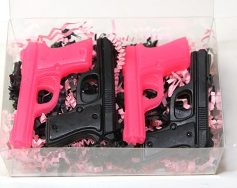 The Gun Show - Kid Soap Favors - Child Party Favors - Birthday Party - 4 Pink / Black Pistol Soap Favors