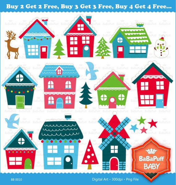 Buy 2 Get 2 Free ---- X'mas House ---- Personal and Small Commercial Use ---- BB 0010