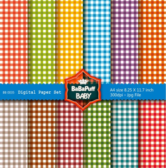Buy 2 Get 2 Free ---- Gingham Digital Papers ---- Personal and Small Commercial Use ---- BB 0035