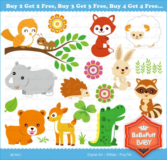 Buy 2 Get 2 Free ---- Baby Animals Set 2 ---- Clip Art ---- Personal and Small Commercial Use ---- BB 0042