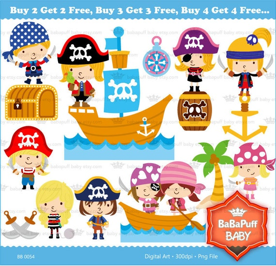 Pirate Kids Clip Art ---- Personal and Small Commercial Use ---- BB 0054