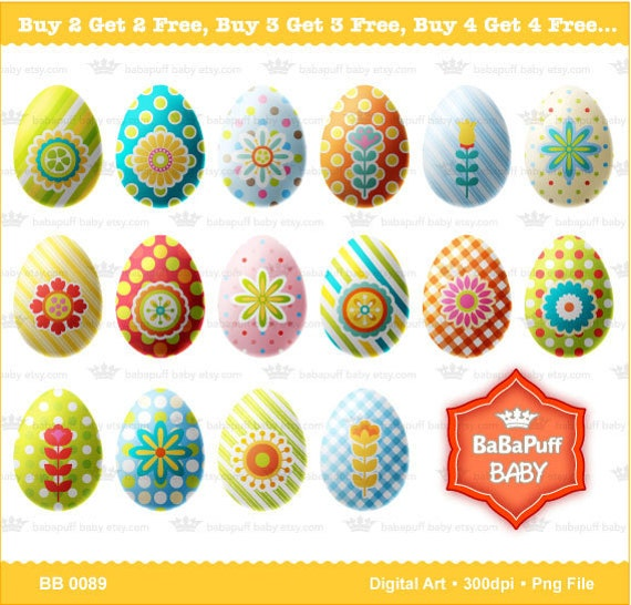 Buy 2 Get 2 Free ---- 16 Easter Eggs ---- Personal and Small Commercial Use ---- BB 0089