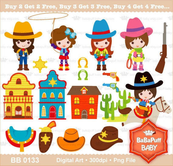 Digital Cowgirl Clip Art Personal and Small Commercial