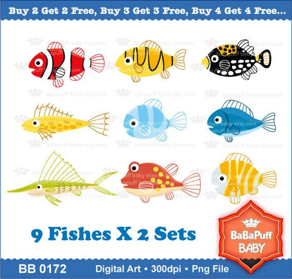 Printable Sea Animals Set A ---- Personal and Small Commercial Use ---- BB 0172