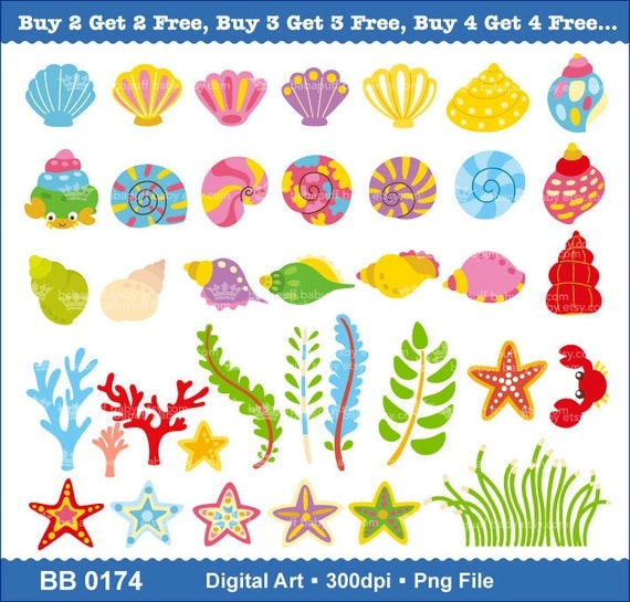 Buy 2 Get 2 Free ---- Printable Sea Shell and Sea Stars ---- Personal and Small Commercial Use ---- BB 0174