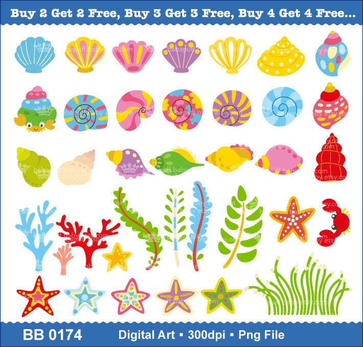 Buy 2 Get 2 Free Printable Sea Shell and Sea Stars