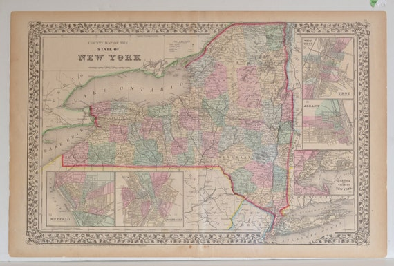 Rare 1867 County Map Of New York by Samuel Mitchell - FREE SHIPPING