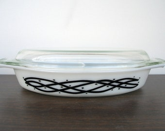 Vintage Pyrex - Barbed Wire divided casserole dish with lid