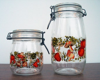 2 Vintage French Glass Canisters/Jars