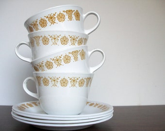 Corelle Butterfly Gold Cup and Saucer set of 4