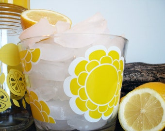 Retro Glass Ice Bucket by Colony - Super Mod Yellow Flower Pattern 1960s