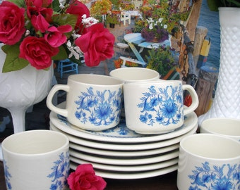 Beautiful Vintage Sado International-Portugal Cups and Plates - 12 Pieces (Blue Floral)