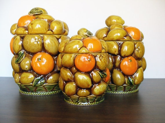 Vintage Inarco Set of 3 Storage Containers - Orange Spice