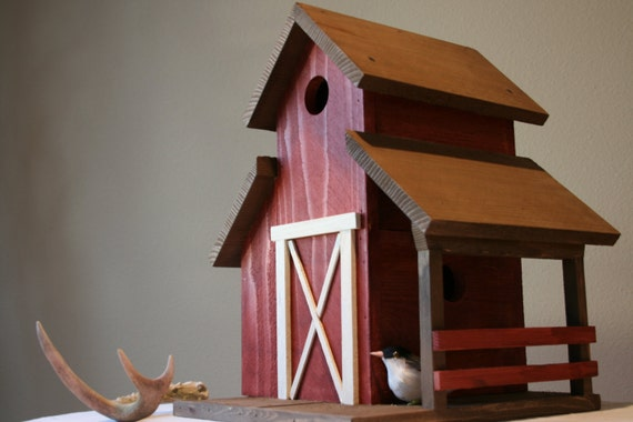 Red Barn Cowboy Country Bird House Two Holer by Plus Z Ranch