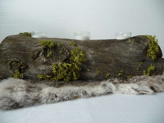 Special for N. Rustic Cedar Lichen Log Votive Candle Centerpiece by Plus Z Ranch