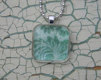 Blue-Green Print Glass Pendant Necklace