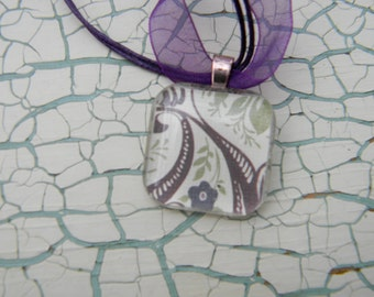 Purple Flowered Glass Necklace