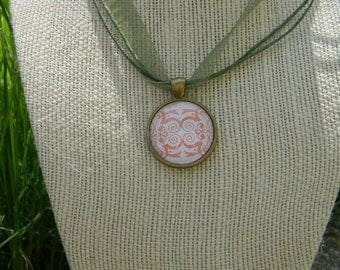 Pink Filgree Print Glass Pendant Necklace