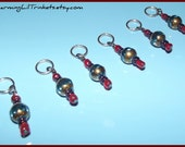 Stitch Markers - Clear Blue and Antique Gold - Set of Six