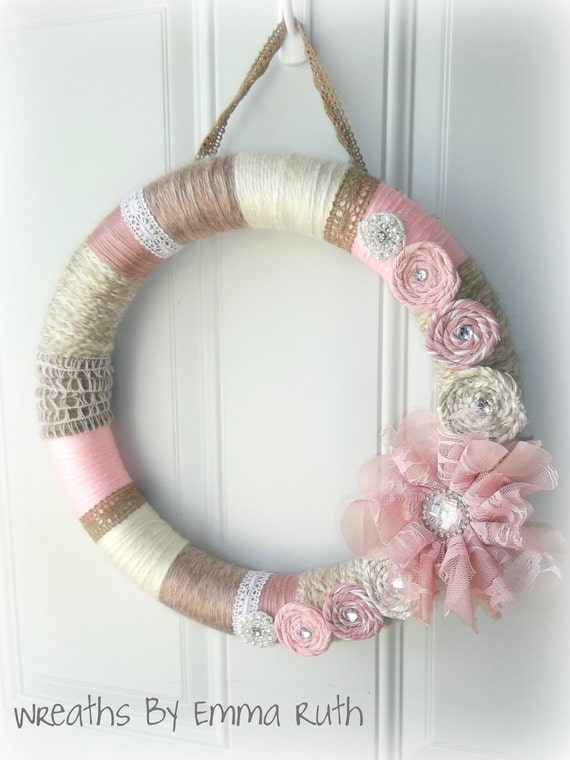 Shabby Chic Pink and Cream Yarn Wreath with Lace and Fabric Flowers