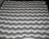 Crochet Grey and White Ripple Wave Dorm Size Afghan Blanket