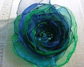Blue & Green Organza Flower Hairclip, Glass Beaded Centre. Flower Ponytail Band, Flower Pin, Flower Brooch, Flower Girl, Bridesmaid, Wedding