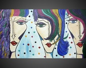 Acrylic Painting Abstract Art Deco on large Canvas Women Face Colorful Circles Mixed Media Textured Ready to Hang 44 x 24 FREE SHIPPING