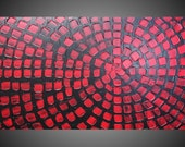 ORIGINAL Abstract Acrylic Painting Art Deco Textured Black Red Squares Modern Ready to Hang FREE SHIPPING 44 x 24