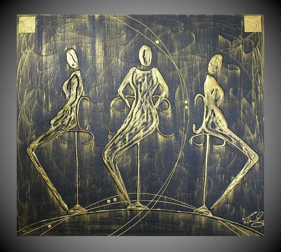 Abstract Figures Painting Acrylic Art Deco on large Canvas Black Gold Thick Textured Original Ready to Hang by ilonka FREE SHIPPING 36 x 32