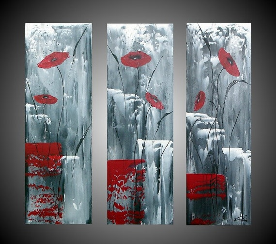 Acrylic paintings abstract red poppies floral flowers 3 panel - Home deco peinture ...
