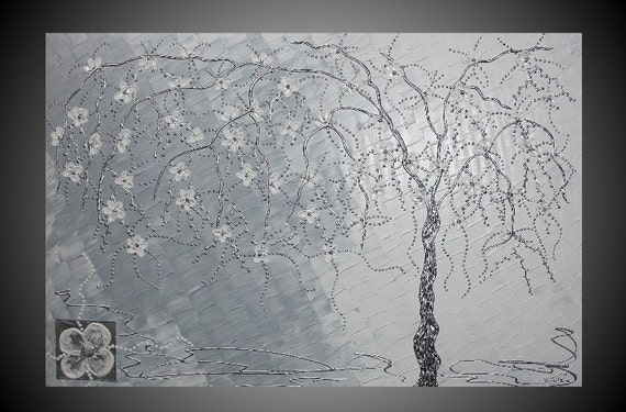 Acrylic Painting Abstract Tree large Canvas Art Deco White Blossom Silver Thick Textured Mixed Media Ready to Hang FREE SHIPPING 36 x 24