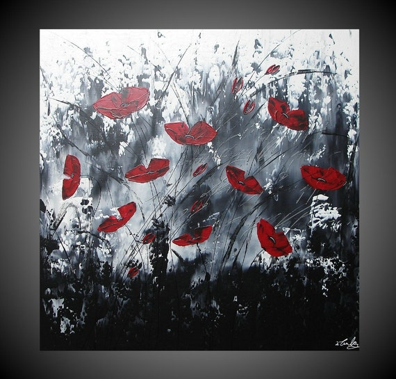Reserved for Mark only Acrylic Paintings Abstract Red Poppies Floral Flowers large Canvas Black White Modern Art Deco Ready to Hang