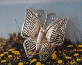 Silver Wire Butterfly Brooch