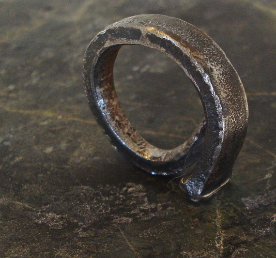 Steampunk Antique Square Nail Ring - Size 8 1/2 - Steam Punk Jewelry - no.1