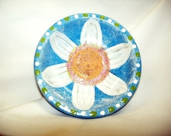 Daisy Jewelry Dish Treasures Keepsakes Handpainted Decorative Trinket Dish Terra Cotta Turquoise Lime Green Neon Colors