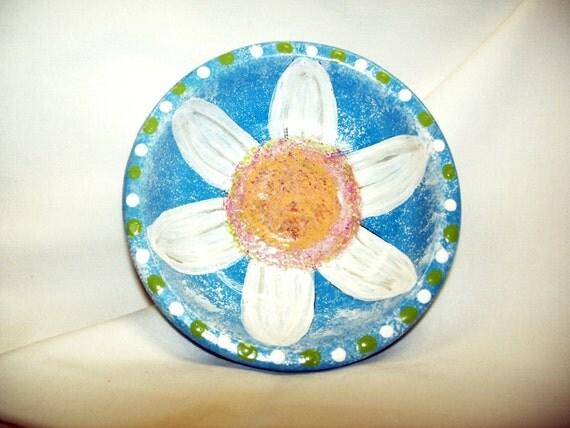Daisy Jewelry Dish Treasures Keepsakes Handpainted Decorative Trinket Dish Terra Cotta Turquoise Lime Green Neon Colors