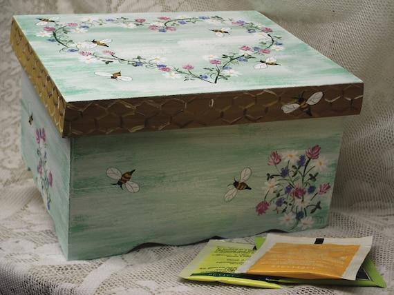 Green Tea Box Herbs Honeybees Herbal Tea Beekeeping Gift Box Cottage Chic Housewarming/Bridal Shower/Garden Party March Spring Easter