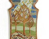 One of a kind art, 7 ft sculptural mosaic, hand-carved African Mahogany and glass tile