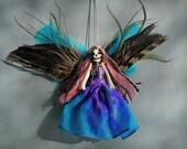 Day of the Dead Fairy Peg Doll Ornament - handmade skull face fairy doll / peg doll.